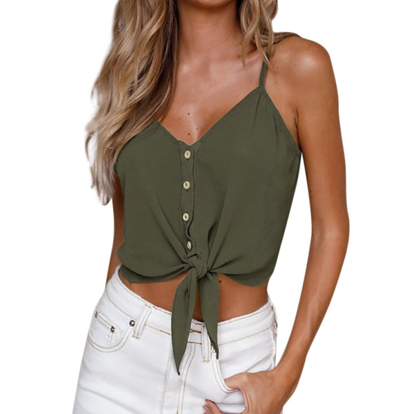 Women's Sleeveless Crop Top Vest Tank Shirt