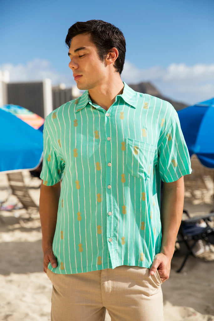 Men's Pineapple Print Collared Button Down