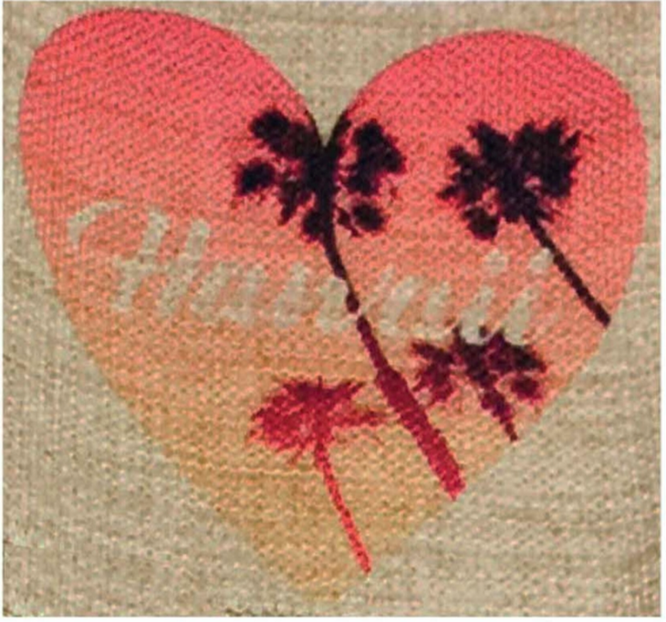 Heart Palm Tree  Coasters, Set of 2