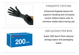 Carbon Nitrile Exam Gloves (Case of 10 boxes, 200 count per box)