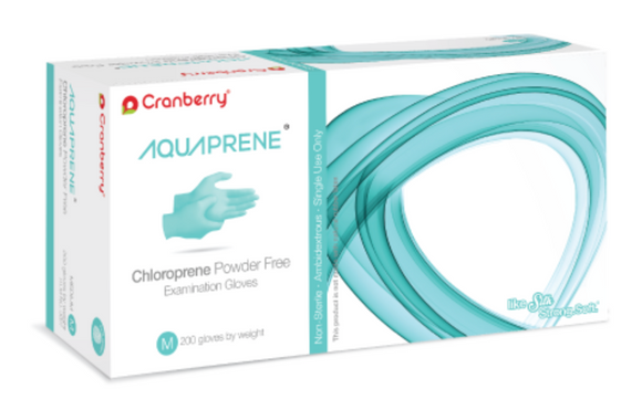AquaPrene Chloroprene Exam Gloves (Case of 10 boxes, 200 count per box)