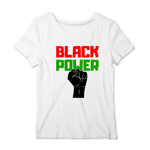Image of tshirt black power poing levé