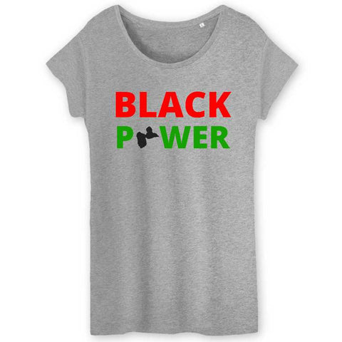 Image of black power guadeloupe tshirt femme