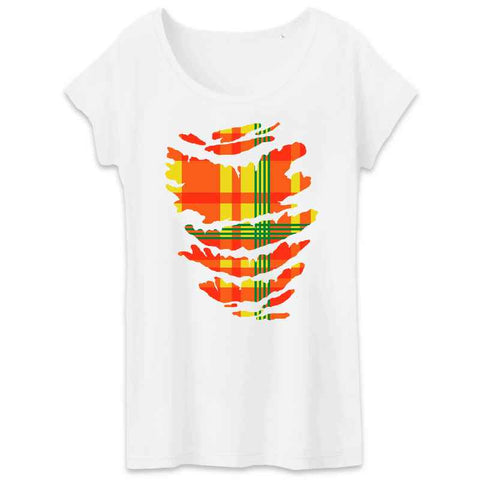 Image of t-shirt femme madrass rouge jaune vert