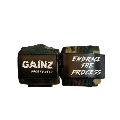 "Camo Green ""Embrace The Process"" Wrist Wraps 18"" (USPA Approved)"