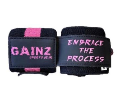 "Pink Female ""Embrace The Process"" Wrist Wraps 18"" (USPA Approved)"