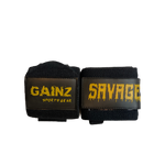 "Black & Old Gold ""Savage"" Wrist Wraps 18"" (USPA Approved)"