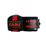 "Red & Black ""Embrace The Process"" Wrist Wraps 18"" (USPA Approved)"