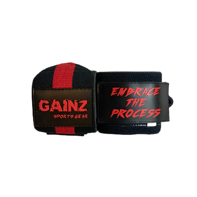 "Red & Black ""Embrace The Process"" Wrist Wraps 18"""