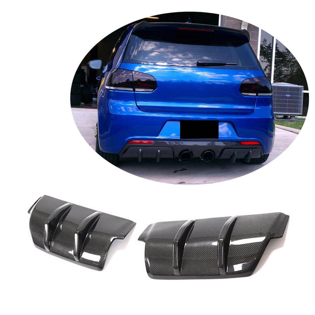 For Volkswagen VW Golf 6 MK6 R/R20 Hatchback 10-13 Carbon Fiber Rear Bumper Diffuser Cover Trims