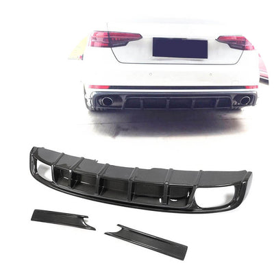 For Audi S4 Sedan 17-20 Carbon Fiber Rear Bumper Diffuser Splitter Lip