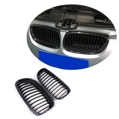 For BMW 3 Series E90 Sedan LCI 09-12 Carbon Fiber Front Grille Frame Bumper Grill Outline Trim Decoration Emblem