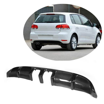 For Volkswagen VW Golf 6 MK6 Base Hatchback 10-13 Carbon Fiber Rear Bumper Diffuser Body Kit