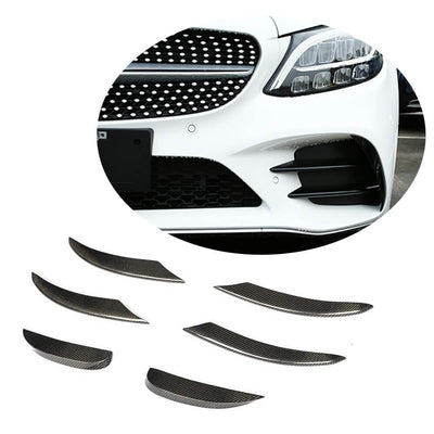 For Mercedes Benz W206 C206 A206 Sport 19UP Carbon Fiber Front Bumper Fins Air Vent Canards Body Kits