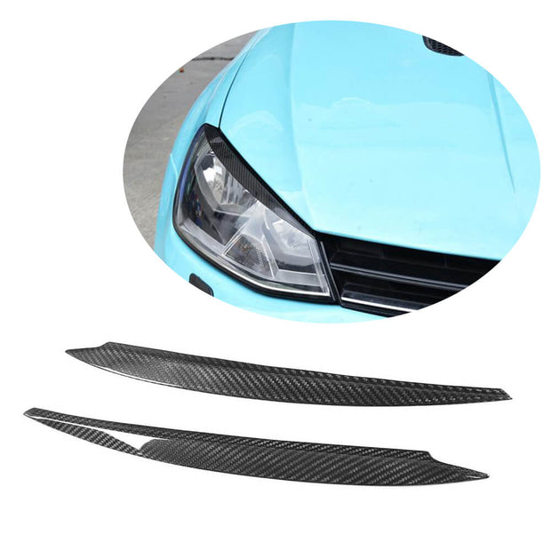 For Volkswagen VW Golf 7 7.5 MK7 MK7.5 GTI R R-line Hatchback 14-19 Carbon Fiber Headlight Eyelids Lamp Eyebrows