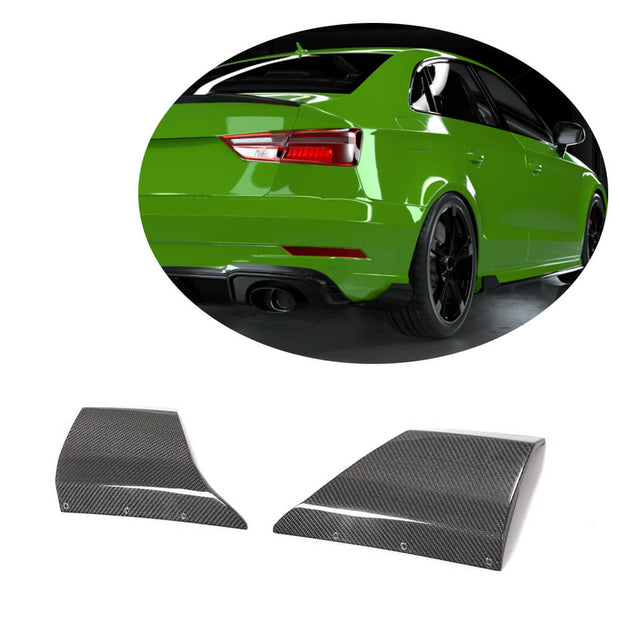 For Audi RS3 Sedan 17-19 Carbon Fiber Rear Bumper Splitter Cupwing Winglets Vent Flaps