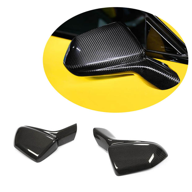 For Chevrolet Camaro RS SS 2-Door 16-19 Real Dry Carbon Fiber Side Rearview Mirror Cover Caps Pair