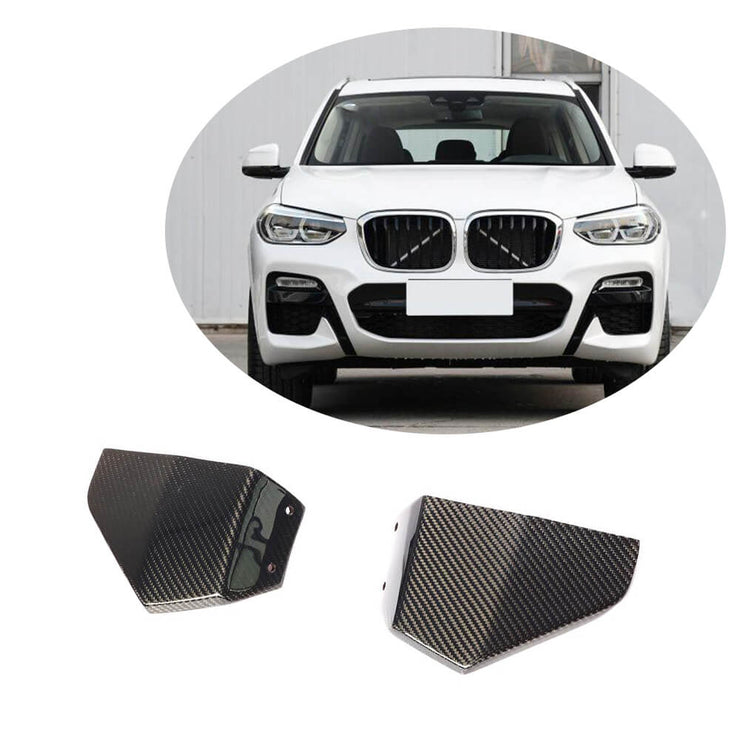 For BMW X3 G01 M40i Sport Utility 18-20 Carbon Fiber Front Bumper Splitter Cupwing Winglets Vent Flaps