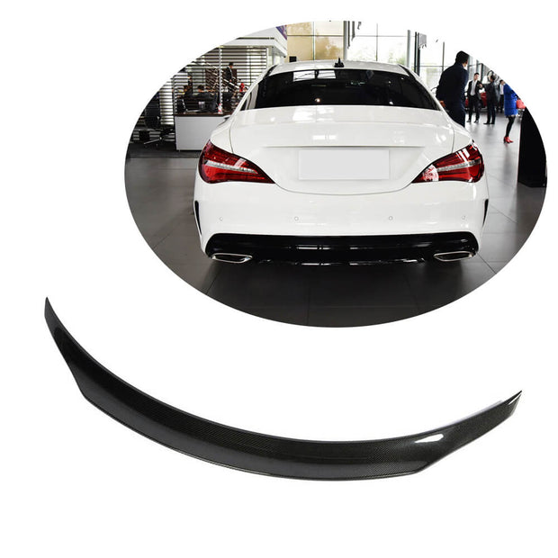 For Mercedes Benz W117 C117 Sedan 13-19 Carbon Fiber Rear Trunk Spoiler Boot Wing Lip