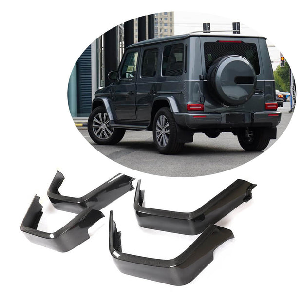 For Mercedes Benz W463 Base Wagon 19UP Real Dry Carbon Fiber Wheel Eyebrow Arch Trim Lips Fender Flares Protector