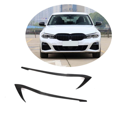 For BMW 3 Series G20 Sedan 19UP Dry Carbon Fiber Headlight Eyebrows Lamp Eyelids