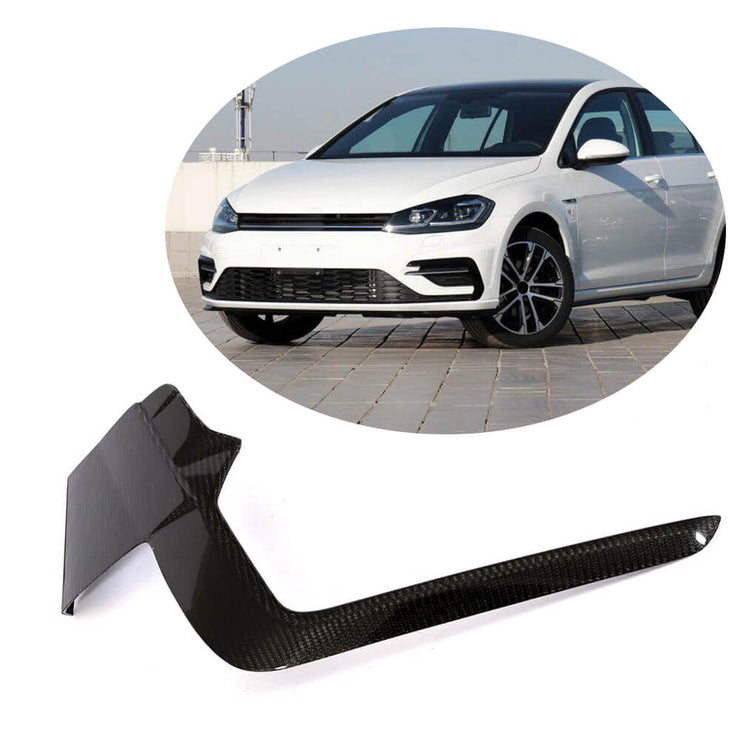 For Volkswagen VW Golf 7.5 MK7.5 R R-Line Hatchback 17-19 Carbon Fiber Front Bumper Fins Air Vent Canards Body Kits