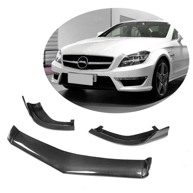 For Mercedes Benz W218 CLS63 AMG Sedan 12-14 Carbon Fiber Front Bumper Lip Chin Spoiler Body Kit