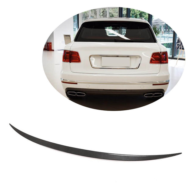 For Bentley Bentayga Sport Utility 16-19 Real Dry Carbon Fiber Rear Trunk Spoiler Boot Wing Lip