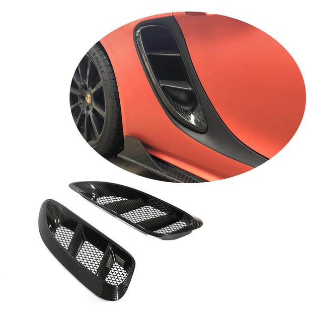 For Porsche 718 Boxster Cayman 16-19 Carbon Fiber Side Air Vent Trim Body Kit