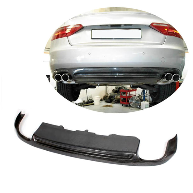 For Audi A5 B8 Base 2-Door Pre-facelift 08-11 Carbon Fiber Rear Bumper Diffuser Body Kit