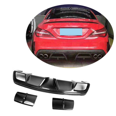 For Mercedes Benz W117 C117 Sport CLA45 AMG Sedan 13-16 Carbon Fiber Rear Bumper Diffuser Body Kit