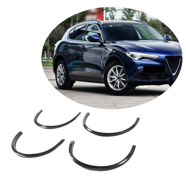 For Alfa Romeo Stelvio Base Sport Utility 17-19 Carbon Fiber Wheel Eyebrow Arch Trim Lips Fender Flares Protector