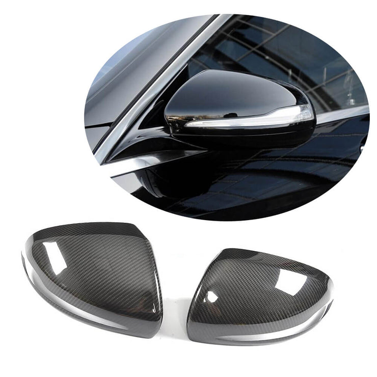 For Mercedes Benz W222 Sedan 14-17 Carbon Fiber Side Rearview Mirror Cover Caps LHD Pair