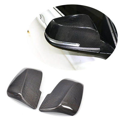 For BMW E87 F20 F30 Sedan Hatchback 11-18 Carbon Fiber Side Mirror Cover Caps Pair