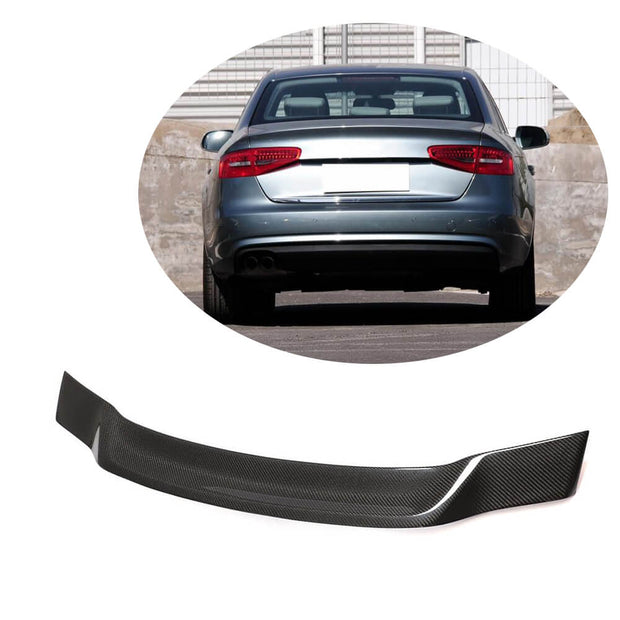 For Audi A4 B8.5 Base Sedan 13-16 Carbon Fiber Rear Trunk Spoiler Boot Wing Lip