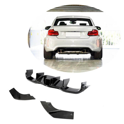 For BMW 2 Series F87 M2 M2C Coupe 16-20 Carbon Fiber Rear Bumper Diffuser with LED Light
