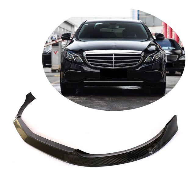 For Mercedes Benz W213 Base Sedan 16-19 Carbon Fiber Front Bumper Lip Chin Spoiler Body Kit