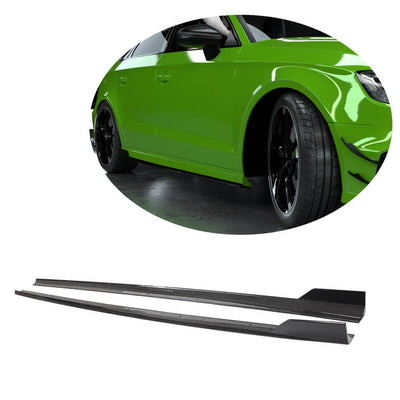 For Audi S3 RS3 Sedan 14-19 Carbon Fiber Side Skirts Door Rocker Panels Extension Lip