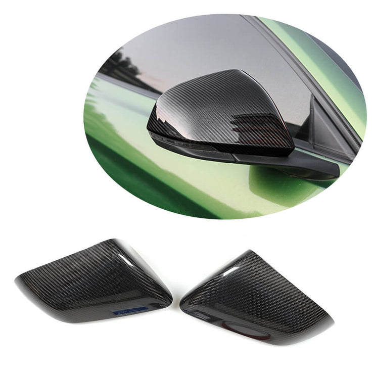 For Ford Mustang 2-Door 15-20 Carbon Fiber Side Rearview Mirror Cover Caps LHD Pair