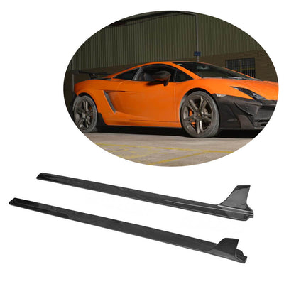 For Lamborghini Gallardo 09-14 Carbon Fiber Side Skirts Door Rocker Panels Extension Lip