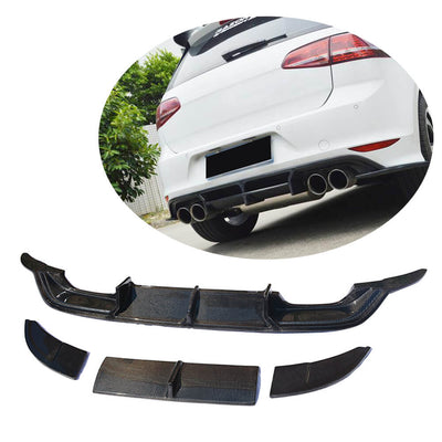 For Volkswagen VW Golf 7 MK7 R-line Hatchback 14-16 Carbon Fiber Rear Bumper Diffuser Lip