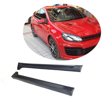 For Volkswagen VW Golf 6 VI MK6 Base Hatchback 10-13 Carbon Fiber Side Skirts Door Rocker Panels Extension Lip