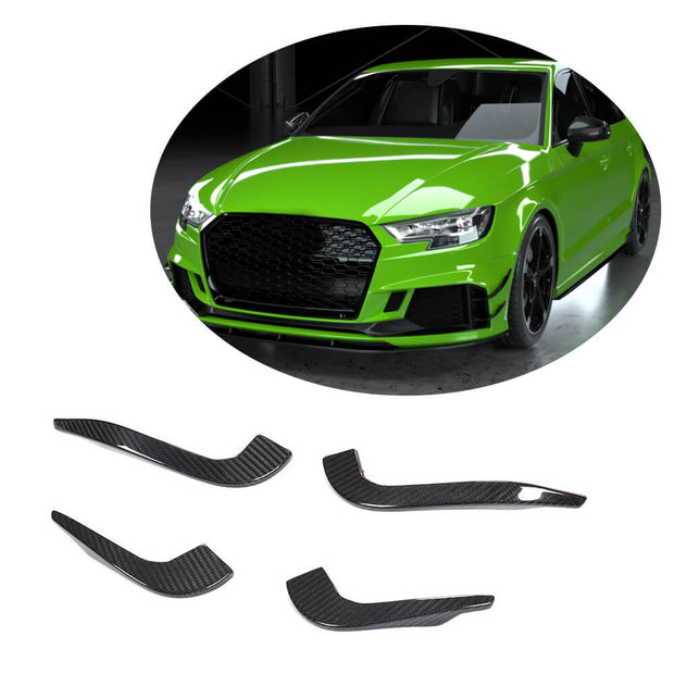 For Audi RS3 Sedan 17-19 Carbon Fiber Front Bumper Fins Air Vent Canards Body Kits