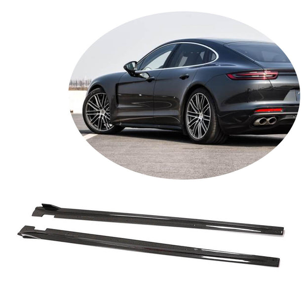 For Porsche Panamera 17-20 Carbon Fiber Side Skirts Door Rocker Panels Extension Lip