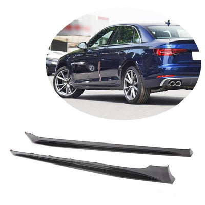 For Audi A4 B9 Quattro S Line S4 Sedan 17-20 Carbon Fiber Side Skirts Door Rocker Panels Extension Lip