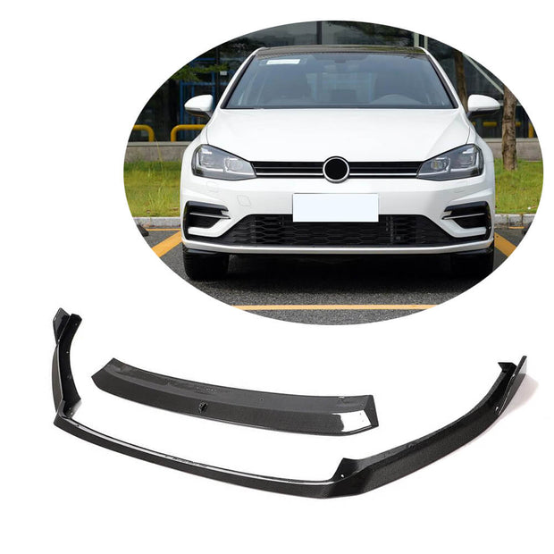 For Volkswagen VW Golf 7.5 MK7.5 R R-Line Hatchback 17-19 Carbon Fiber Front Bumper Lip Chin Spoiler