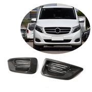 For Mercedes Benz W447 Vito 16-19 Real Dry Carbon Fiber Front Fog Lamp Air Fender Vent Cover