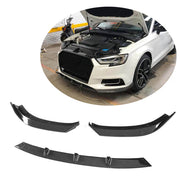 For Audi A3 Base Sedan 17-20 Carbon Fiber Front Bumper Lip Spoiler Body Kit