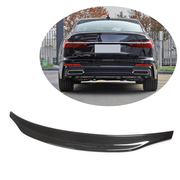 For Audi A6 C8 Base/Sline S6 Sedan 19UP Carbon Fiber Rear Trunk Spoiler Boot Wing Lip