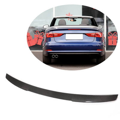 For Audi A3 S3 Sline Convertible 14-20 Carbon Fiber Rear Trunk Spoiler Boot Wing Lip